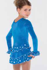Lågärmad klänning i turkos sammet