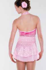 Rosa spetsklänning i halterneckmodell