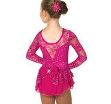 Rosaglittrig spetsklänning