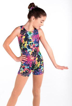 Mönstrad gymnastikdräkt med korta ben