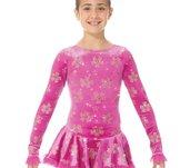Rosa klänning i sammet med glittermönster