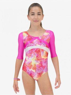Gymnastikdråkt i rosa- eller blåmönstrat med 3/-lång ärm  från Capezio