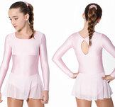 Långärmad klänning med detaljer och kjol i glittrig mesh