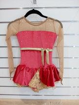 Lågärmad Sagesterklänning i rött och guld