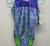 Ärmlös dräkt i blå-grön spetsmönstrad lykra