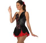 Svart/röd klänning med glitter