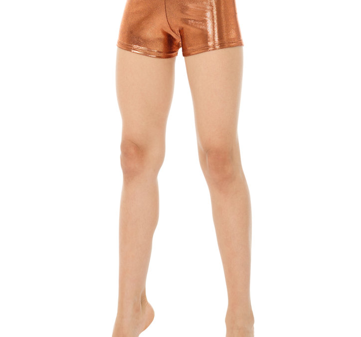 Bronsfärgade metallic-hipsters/hotpants