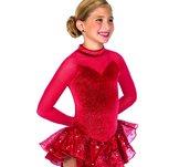 Röd sammetsklänning med tyllkjol