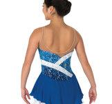 Blå axelbandslös klänning
