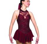 Vinröd spetsklänning
