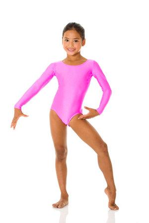 Långärmad gymnastikdräkt i neonfärgad lyckra