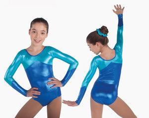 Långärmad gymnastikdräkt i blå/turkos