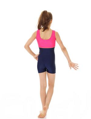 Ärmlös dräkt med korta ben i blått & rosa