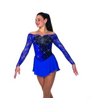 Blå sammetsklänning med kristaller och ärmar i spets