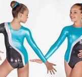 Turkosglittrig långärmad gymnastikdräkt