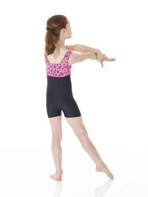 Ärmlös dräkt i mönstrad och enfärgad lycra med korta ben