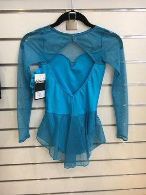 Turkos klänning med glittrig mesh