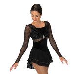 Långärmad svart klänning med silver detaljer