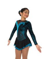 Svart sammetsklänning med turkos glittermönster