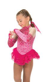 Glittrig rosa sammetsklänning