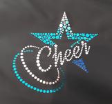 Blått cheerleadingtryck med hologram