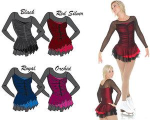 Klänning med svart mesh över färgad lycra