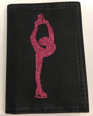 konståkningsplånbok med rosaglittrigt motiv