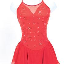 Röd axelbandsklänning med kristaller